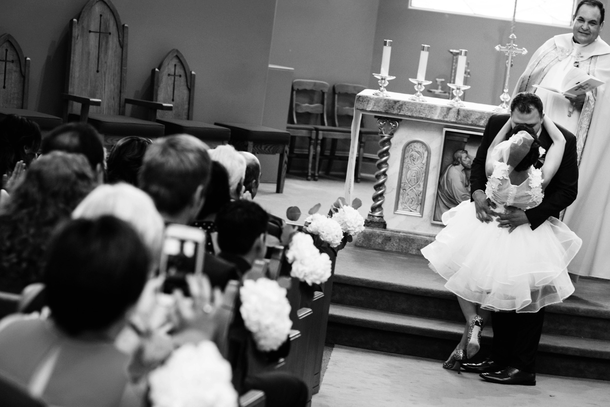Short wedding dress catholic Ceremony Wedding Photography Victoria BC by FunkyTown Photography