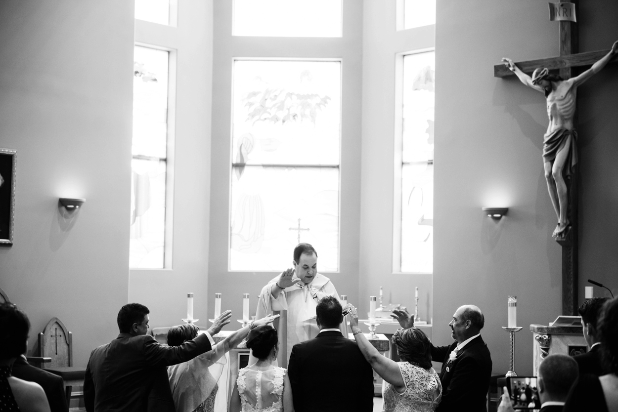 Black and White Wedding Photojournalism and candid moments // Short wedding dress catholic Ceremony Wedding Photography Victoria BC by FunkyTown Photography