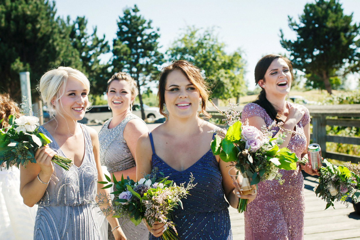 Ombre bridesmaids dresses mauve purple pink by Adrianna Papell