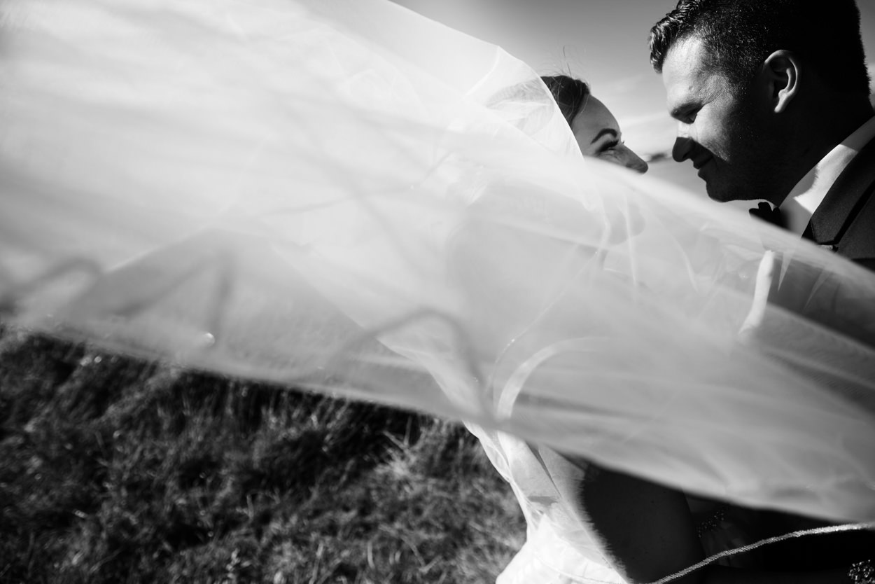 Veil wedding photo with Hayley Paige gown // Nicole & Jamie's Wedding held at the barn Roddick's Farm // Delta, British Columbia // Victoria & Vancouver Wedding Photographers FunkyTown Photography // www.funkytownphotography.com