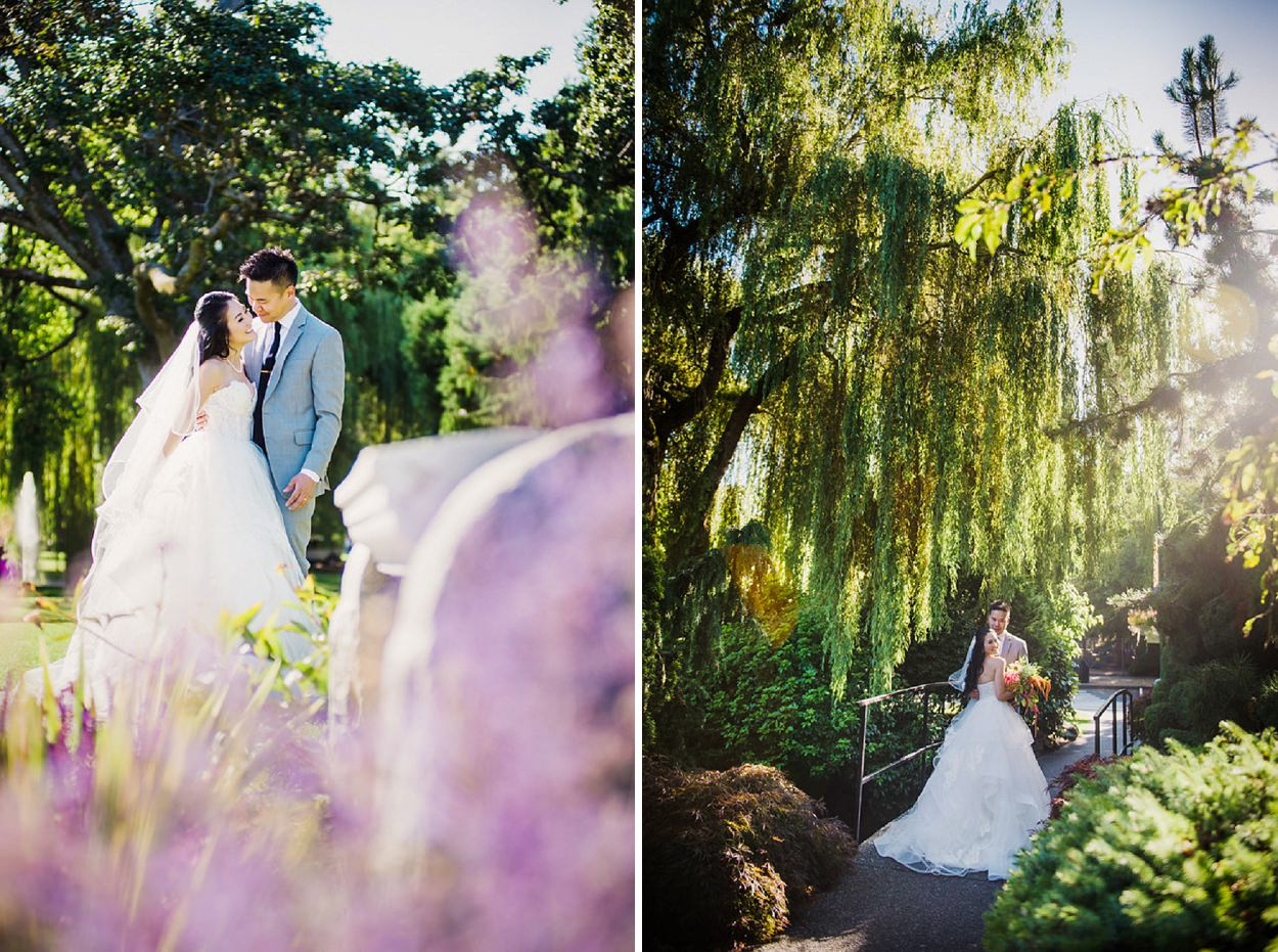 Holly & Chris' Wedding Portrait Session in Beacon Hill Park featuring a gorgeous Chantelle Hayley Paige Gown // Photography by FunkyTown Photography Victoria BC