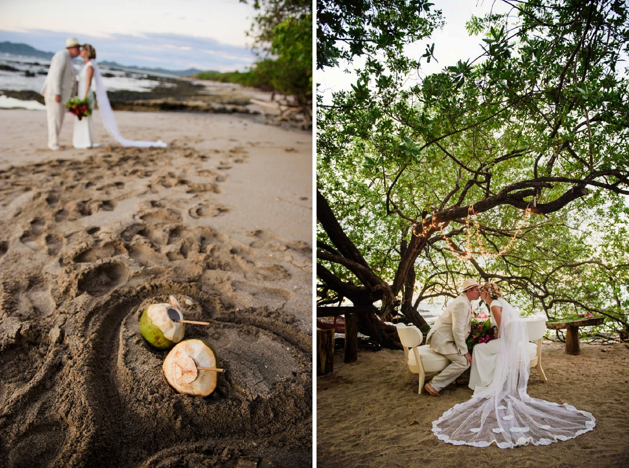 Coconut beach wedding inspiration. Holly & Luke's Cala Luna, Tamarindo, Costa Rica wedding. Cala Luna is situated on the stunning and quiet beach of Langosta, Tamarindo. This beautiful eco-chic boutique hotel is a fantastic choice for a wedding. Photos by FunkyTown Photography.