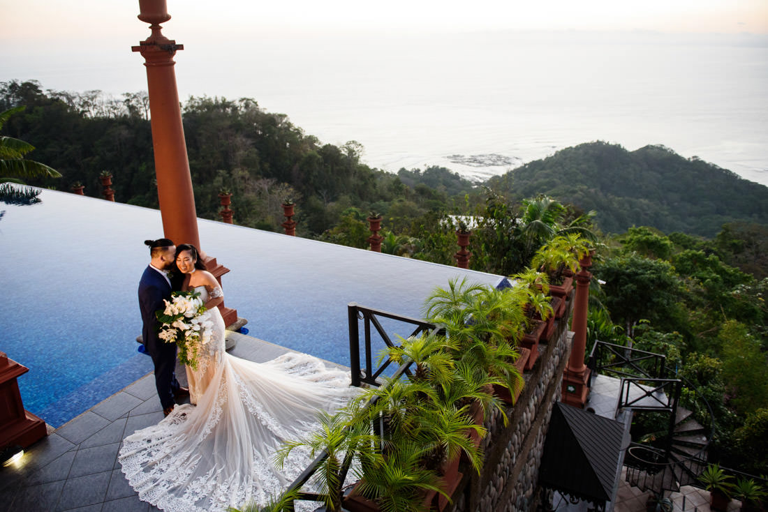 Sunset Portrait at the Pool Zephyr Palace Wedding Photography