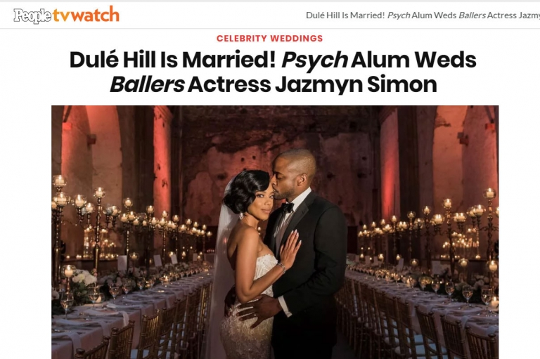 As seen in People! Psych & The West Wing Album Dule Hill marries fellow Ballers cast member Jazmyn Simon (Hill) in a beautiful evening wedding at las Capuchinas in Antigua, Guatemala