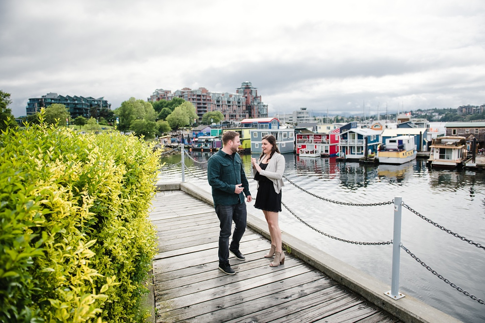 Surprise Engagement Proposal at Fisherman's Wharf in Victoria BC by photographers FunkyTown Photography