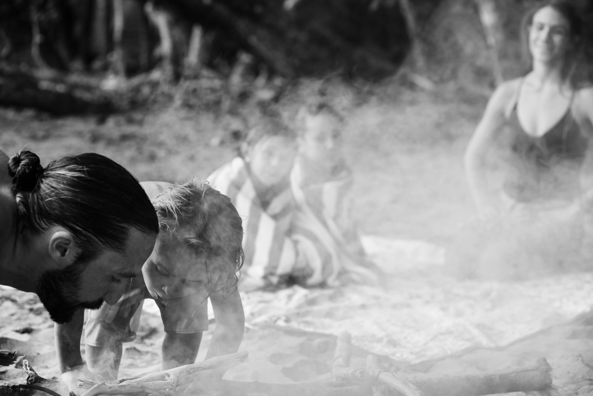 Family portraits at the beach candid documentary photographer